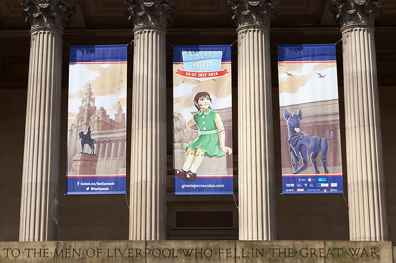 Giant banners, St George's Hall, Liverpool