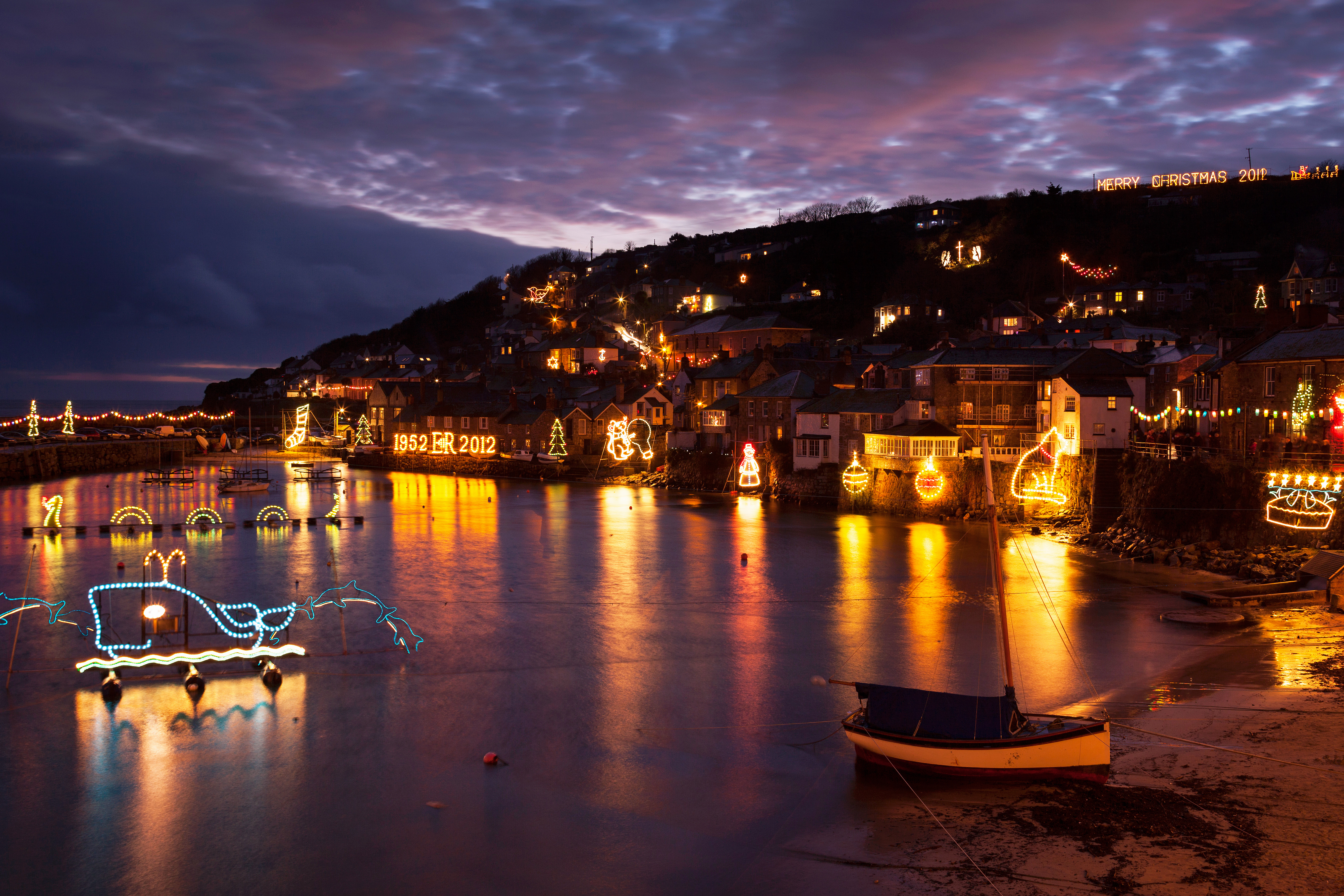 Mousehole Christmas lights, December, Cornwall, UK