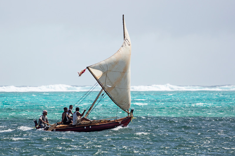 Yap canoe at sea, Micronesia