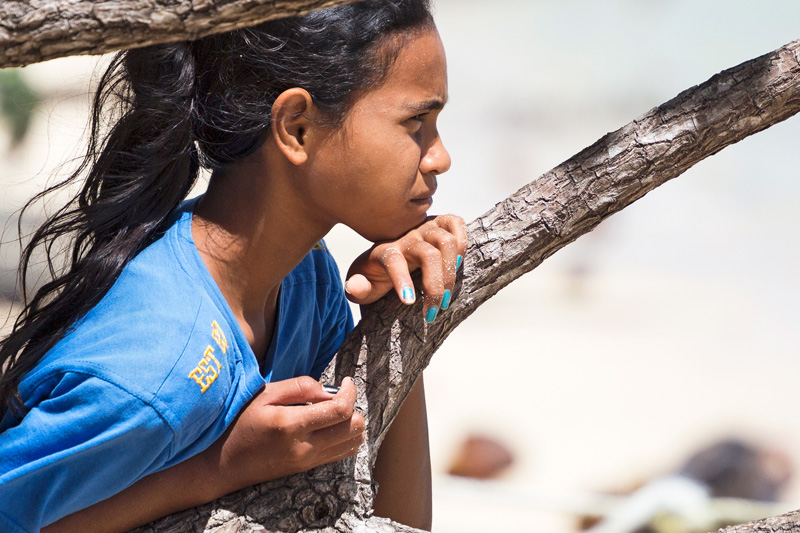Young girl on beach, Yap